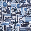 Korte mouwen blauw fietsprint stretch katoenen overhemd.