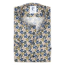 R2 Short sleeves green flower print dobby cotton shirt.