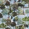 Korte mouwen groen Amsterdamse parken print stretch katoenen overhemd.