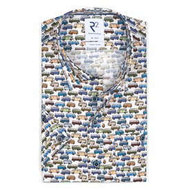 R2 Short sleeves iconic bus print stretch cotton shirt