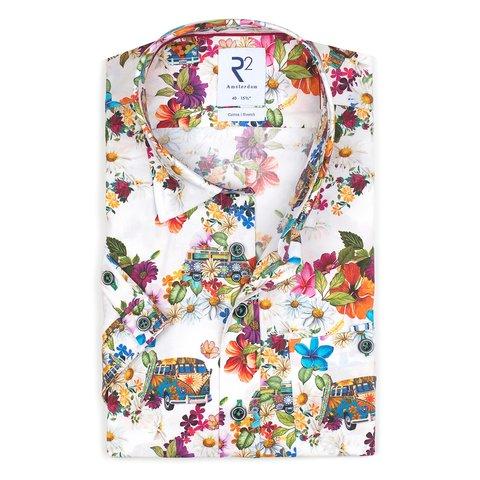 Short sleeves white iconic bus print stretch cotton shirt