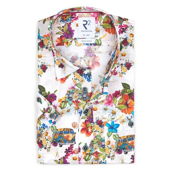 R2 Short sleeves white iconic bus print stretch cotton shirt