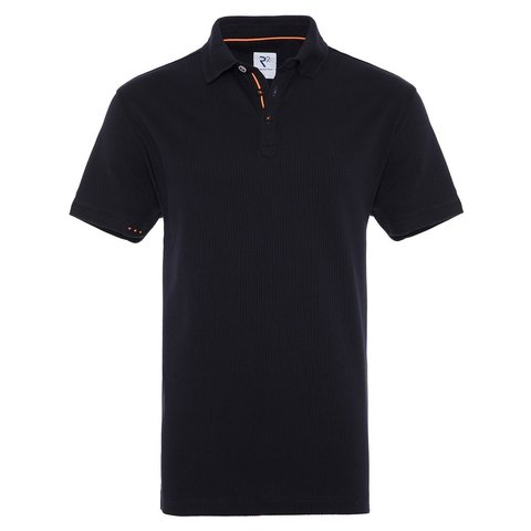 Navy blue dobby knitted cotton polo.