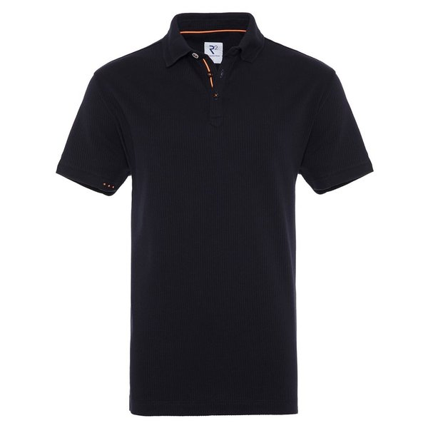 R2 Navy blue dobby knitted cotton polo.