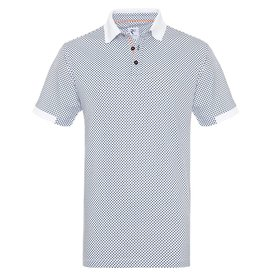 R2 White dots print dobby knitted cotton polo.