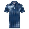 Navy blue dots print dobby knitted cotton polo.