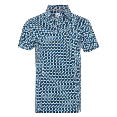 Blue graphic print piquet cotton shirt.