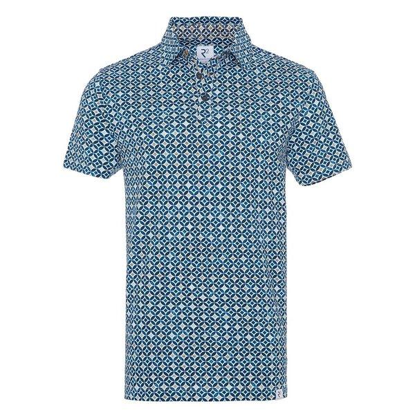 R2 Blue graphic print piquet cotton shirt.