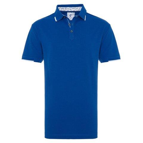 Blue Phatfour piquet cotton polo.