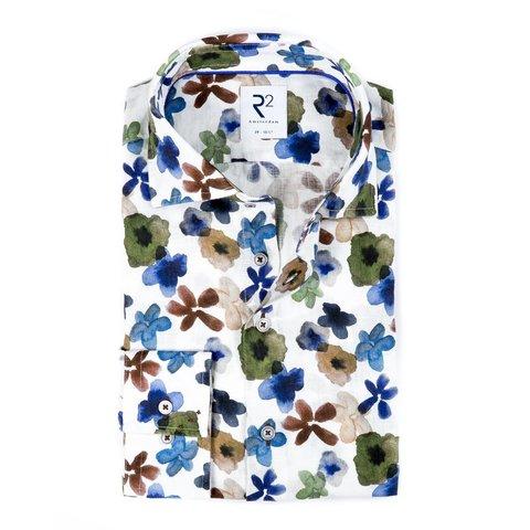 Wit bloemenprint linnen overhemd.