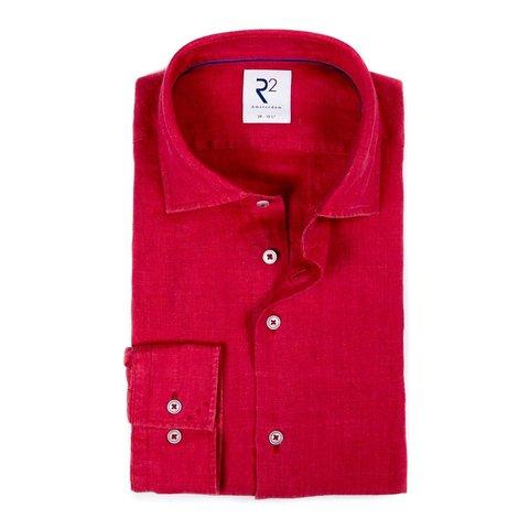 Red linen shirt.