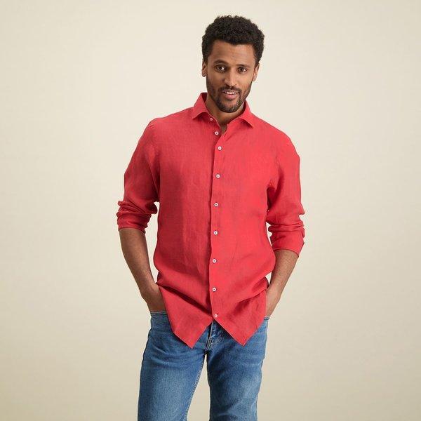 R2 Rood linnen overhemd.
