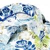White leaf print herringbone linen shirt.