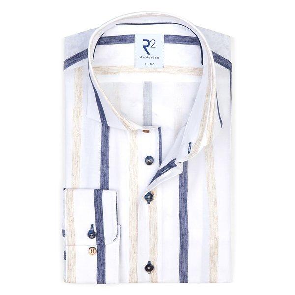 R2 White striped cotton shirt.