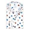 White flower print stretch cotton shirt.