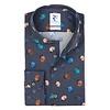 Blue floral print cotton shirt.