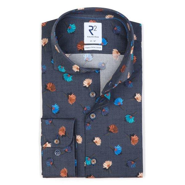 R2 Blue floral print cotton shirt.