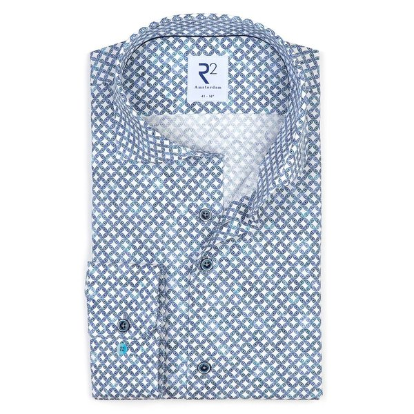 R2 White circle print 2 PLY dobby cotton shirt.