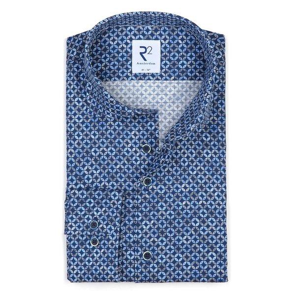 R2 Navy blue circle print dobby cotton shirt.