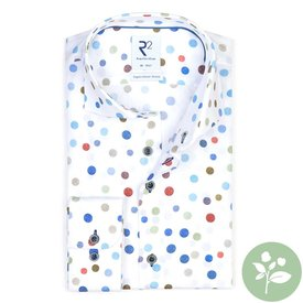 R2 Weißes Punktdruck organic Baumwollhemd.