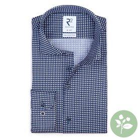 R2 Navy blue graphic print organic cotton shirt.