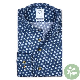 R2 Cobalt blue flower print 2 PLY Organic cotton shirt.