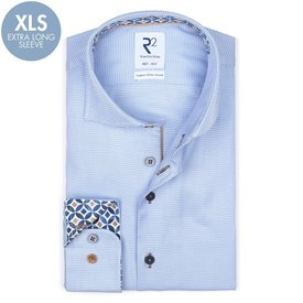 R2 Extra long sleeves. Light blue pied de poule 2 PLY stretch organic cotton shirt.