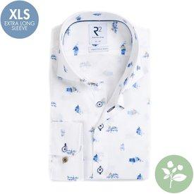 R2 Extra long sleeves. White Dutch print organic cotton shirt.