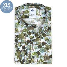 R2 Extra long sleeves. Green Amsterdam parks print stretch cotton shirt.