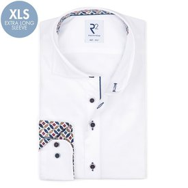 R2 Extra long sleeves. White 2 PLY cotton shirt.
