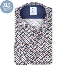 R2 Extra long sleeves. Multicolour graphic print dobby cotton shirt.