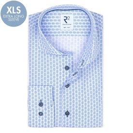 R2 Extra long sleeves. Light blue dots print cotton shirt.