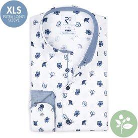 R2 Extra lange Ärmel. Weißes Blumendruck 2 PLY Organic Baumwollhemd.