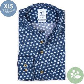 R2 Extra lange Ärmel. Blaues Blumendruck 2 PLY Organic Baumwollhemd.