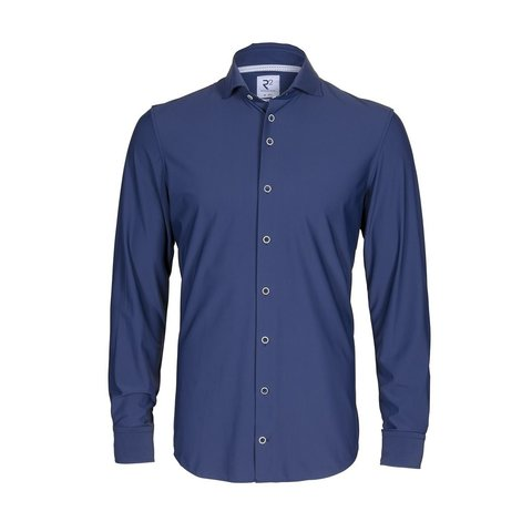 Navy non-iron 4-way stretch shirt.