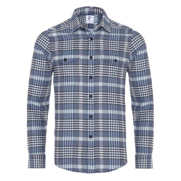 R2 Blue checkered cotton overshirt.