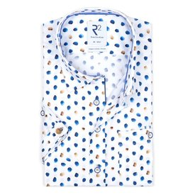 R2 Kurzärmeliges weißes Bio-Baumwollhemd.