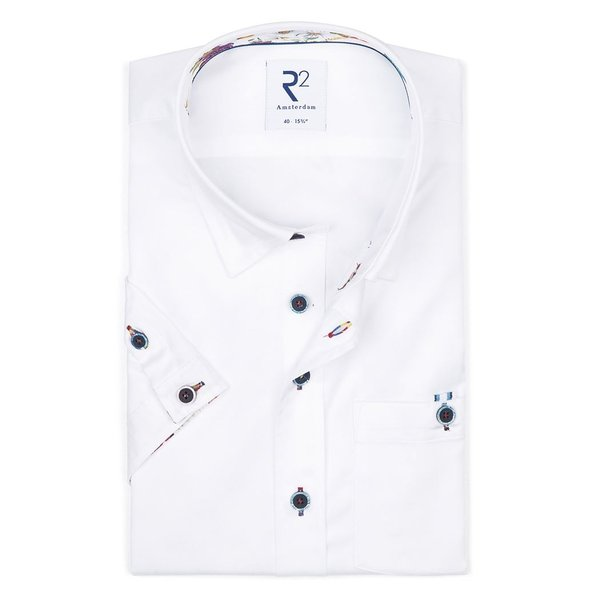 R2 Short sleeves white cotton 2 PLY shirt