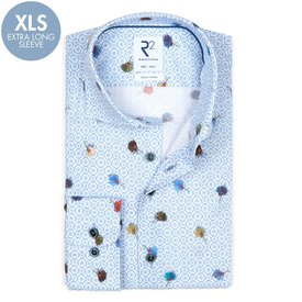 R2 Extra long sleeves. Light blue floral print cotton shirt.