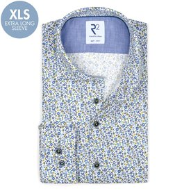 R2 Extra long sleeves. Blue floral print cotton shirt.
