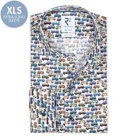 R2 Extra lange Ärmel Multicolour ikonischer-Bus Druck Baumwollhemd