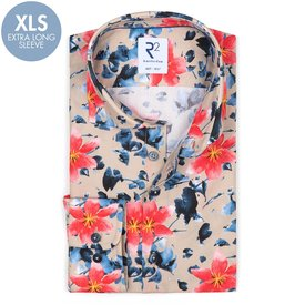 R2 Extra long sleeves. Multicolour floral print cotton shirt.