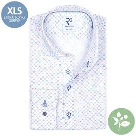 R2 Extra long sleeves. Multicolour mini print organic cotton shirt.
