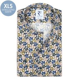 R2 Extra long sleeves. Green flower print dobby cotton shirt.