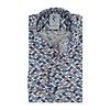 Blue chair print organic cotton stretch shirt.