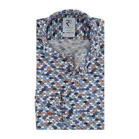 R2 Blauw stoelenprint organic cotton stretch overhemd