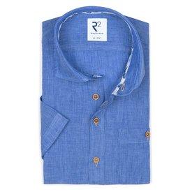 R2 Korte mouwen blauw linnen overhemd.
