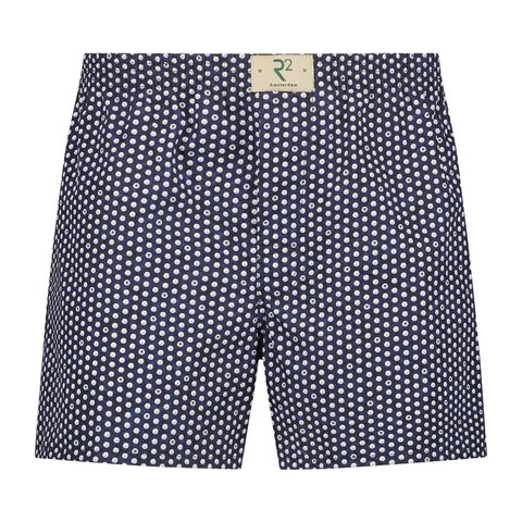 Donkerblauw stippen print katoenen boxershort