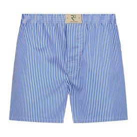 R2 Weiß-blau gestreifte Baumwolle Boxershorts