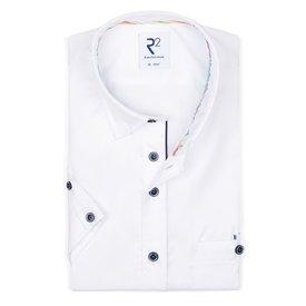 R2 Korte mouwen wit katoenen overhemd.